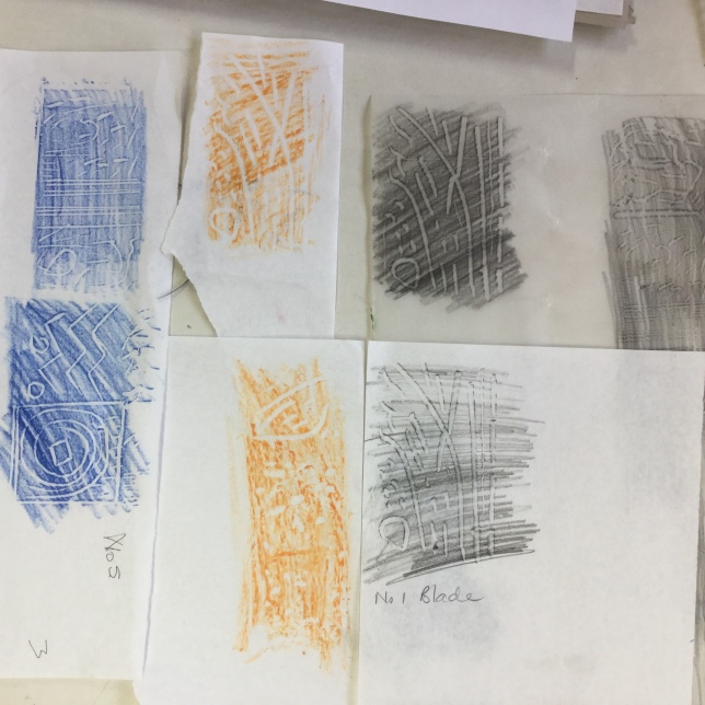 Proofing the Lino using coloured pencil and wax crayon